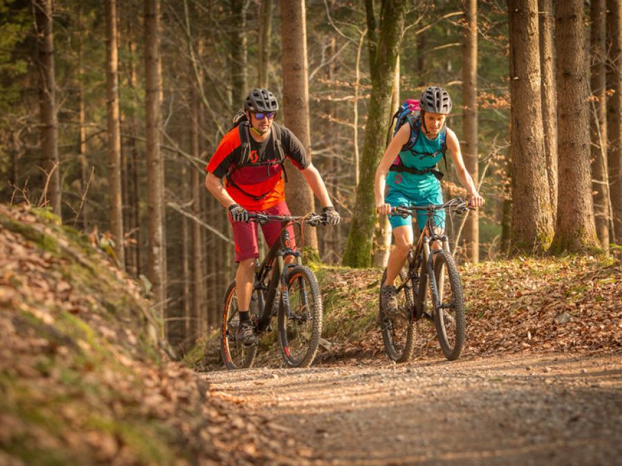 Mountainbiken im Wald in Bludenz, Vorarlberg
